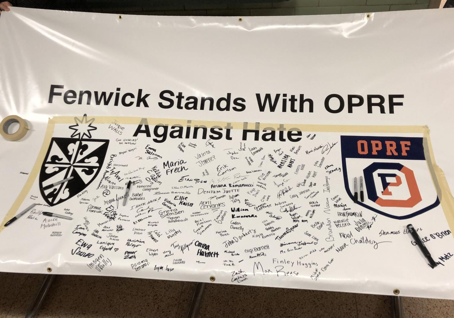 Banner signed by students.