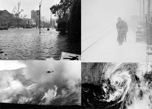 North Carolina Flooding; Chicago Blizzard; California Wildfires; Hurricane Florence.  Photos courtesy of Wikimedia Commons.